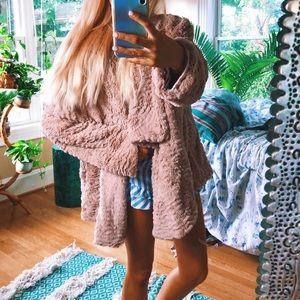 lux plush pink teddy jacket